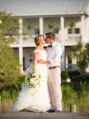 Watson House, Emerald Isle, White Plantation style estate, Waterfront, Bogue Sound, Bride and Groom