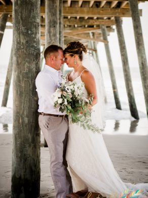 Bride and Groom under the Bogue Inlet Pier, Emerald Isle North Carolina