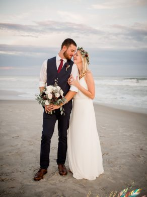 Oceanfront bride and groom, boho headpiece Emerald Isle North Carolina