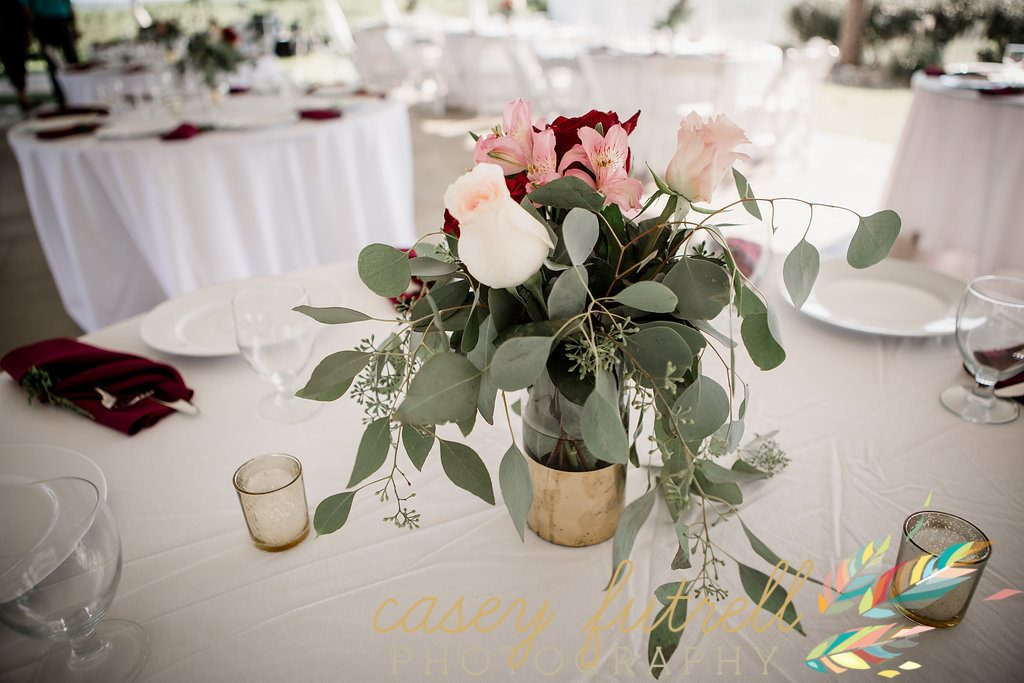 blush pink gold and burgundy floral centerpiece