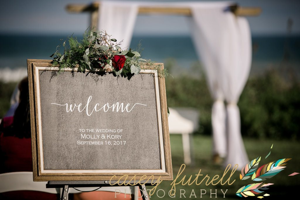 Welcome sign for oceanfront ceremony