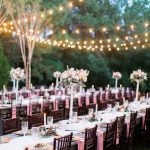 Farm table reception, pink wedding details, market light reception