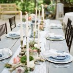 farm table, antique candle holders, blue willow, Melissa Blyth Photography, Lace Runner