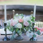 pink and ivory centerpiece, candelabra, wedding details