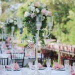 tall centerpiece, farm tables, pink wedding details