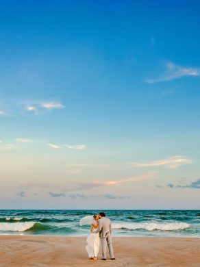 Emerald Isle, beach ceremony, bride and groom