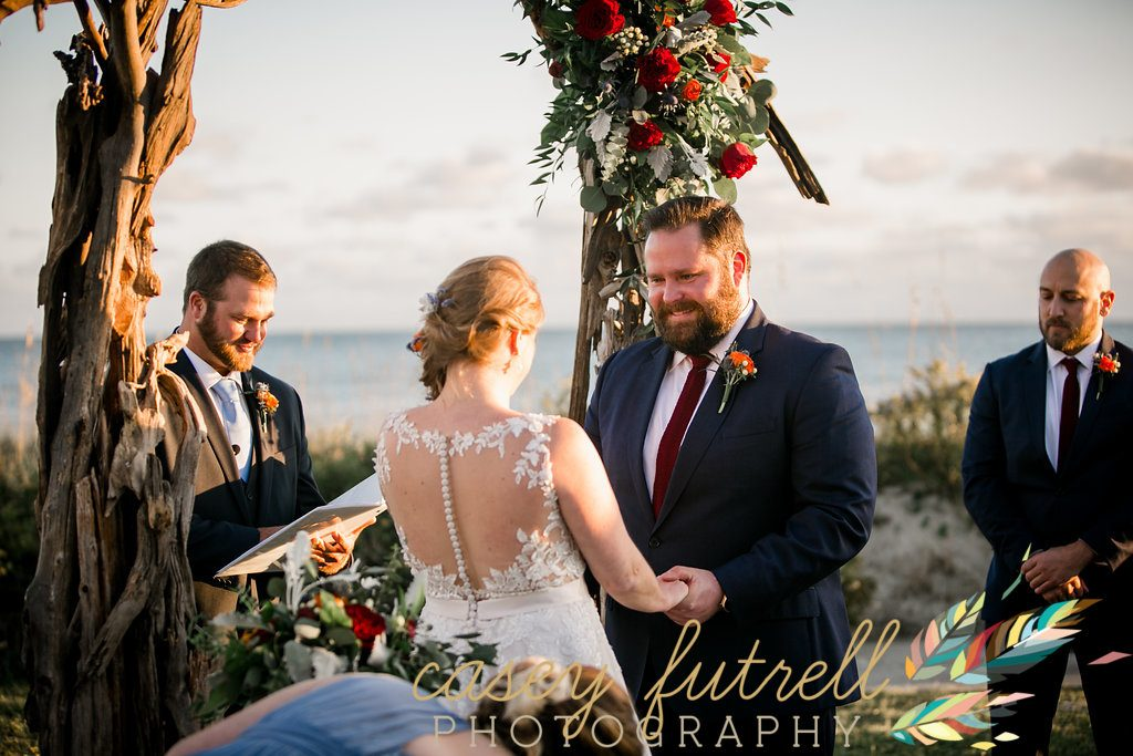 Emerald Isle, North Carolina, oceanfront wedding ceremony