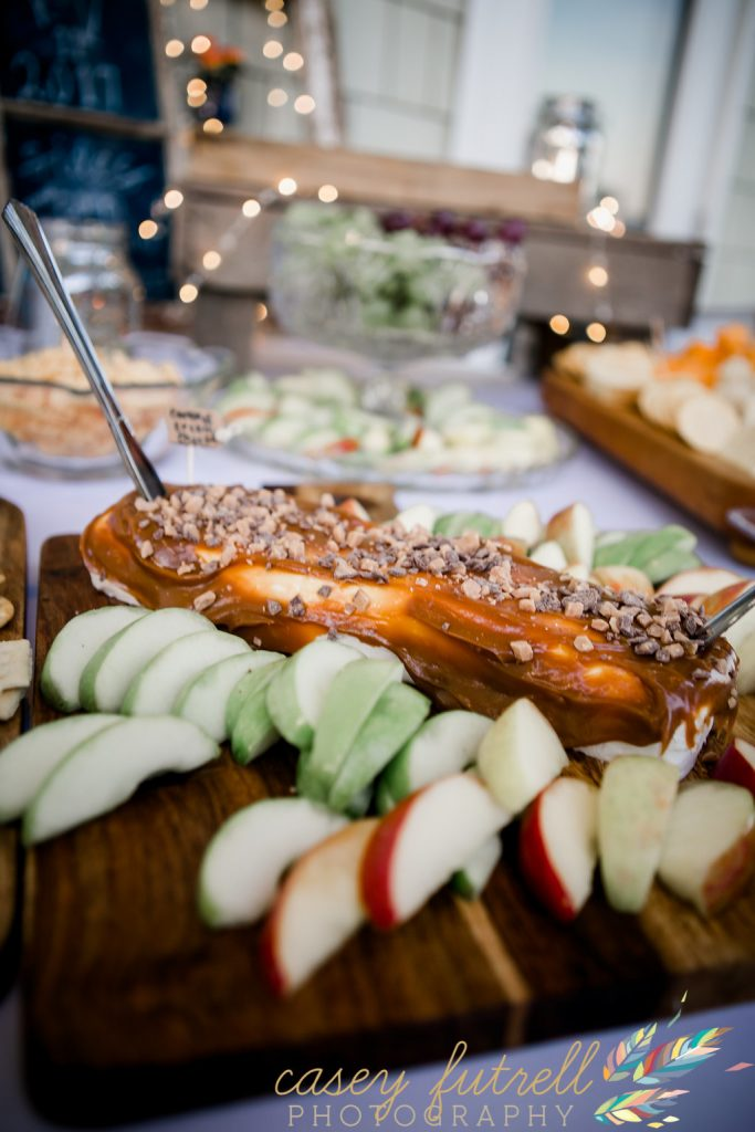 Cocktail hour, Caramel Brie and apples, wedding day food ideas