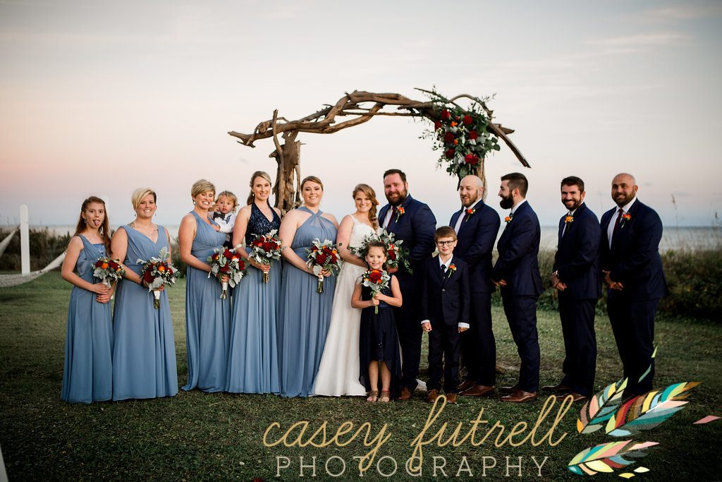 Wedding party, Emerald Isle oceanfront ceremony, driftwood arbor